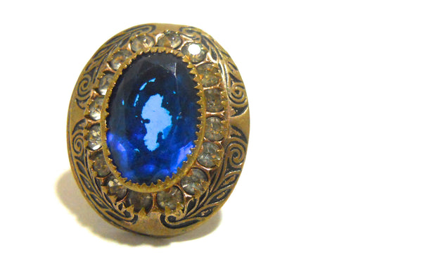 Deep Blue Czech Glass 1930s Ring