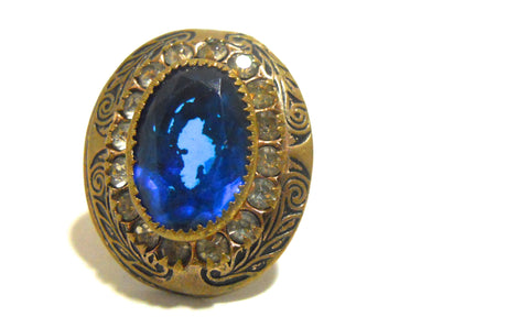 Deep Blue Czech Glass Ring circa 1930s 3.5