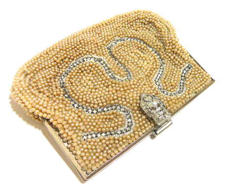 Glam Little Faux Pearl & Rhinestone Clutch Handbag circa 1930s