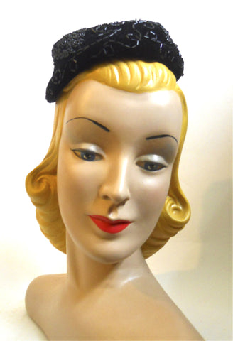 Black Beaded Velvet Mini Hat circa 1950s