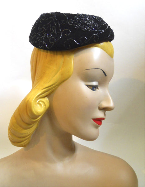 Black Beaded Velvet Mini 1950s Hat