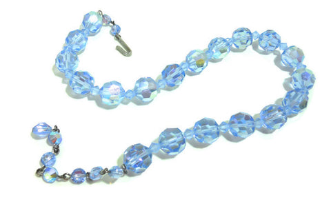 Aurora Borealis Pale Blue Crystal Necklace circa 1950s
