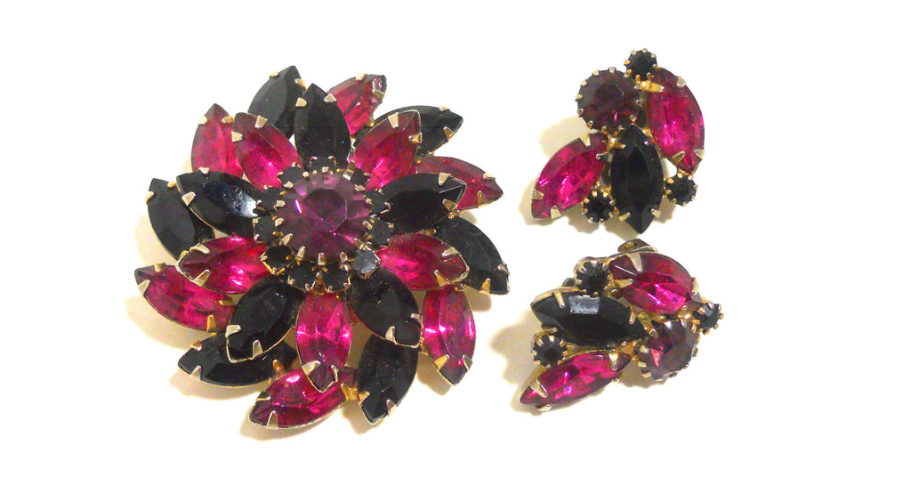 Grape and Magenta Rhinestone Navette 1960s Brooch and Clip Earrings