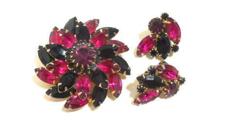 Grape and Magenta Rhinestone Navette Brooch and Clip Earrings circa 1960s