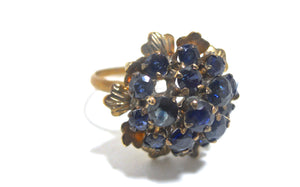 Midnight Blue Rhinestone Cluster 1960s Cocktail Ring