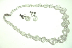 Glamorous Lead Crystal 1950s Necklace and Clip Earrings
