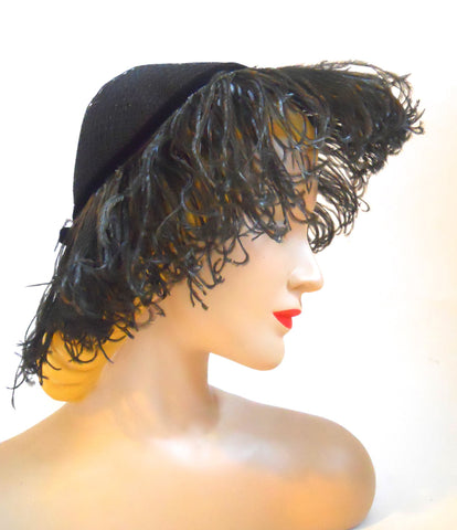 Dramatic Black Marabou Trimmed Peaked Marabou Hat circa 1950s