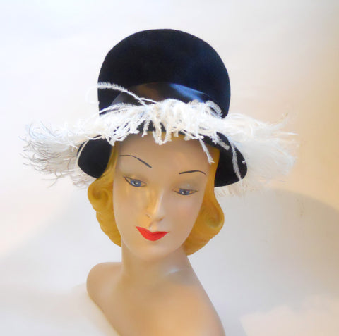Black Felted Bubble Hat with Marabou Fringe circa 1960s