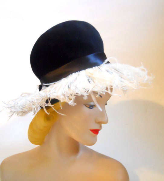Black Felted 1960s Bubble Hat with Marabou Fringe