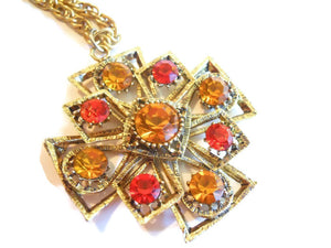Tangerine and Lemon Rhinestone Pendant Necklace circa 1960s