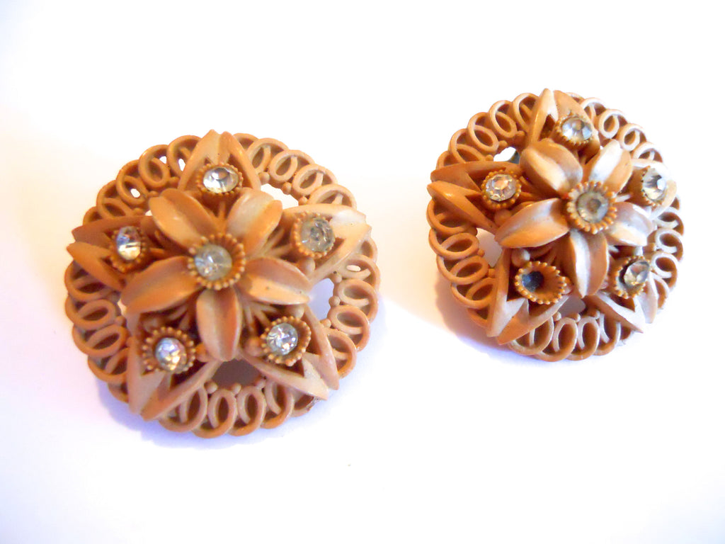 Tiki Time Wood Look Carved Plastic 1950s Clip Earrings w/ Rhinestones