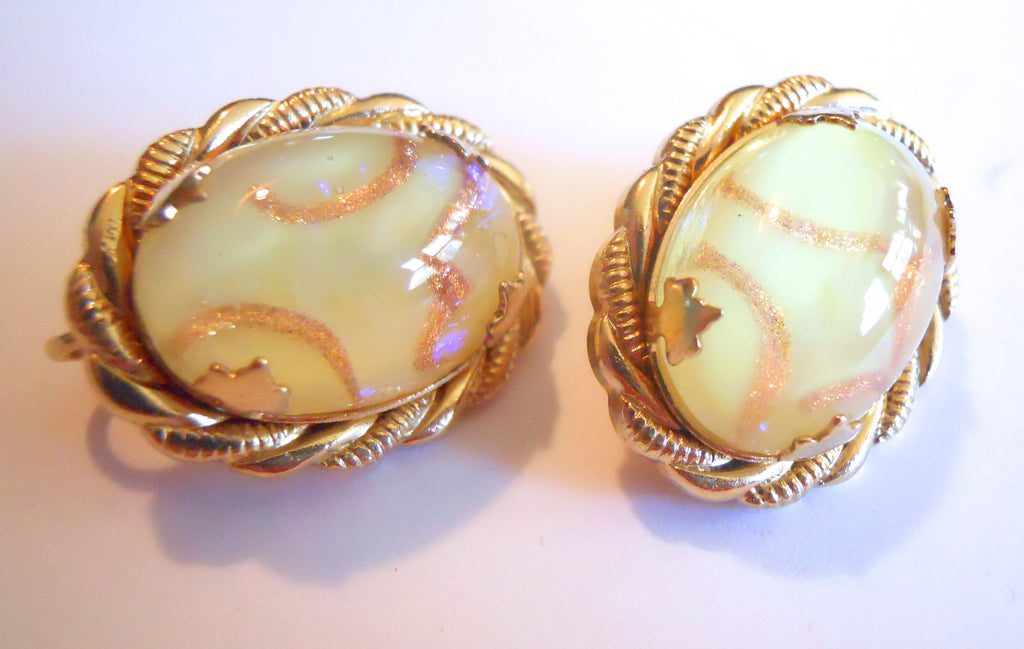 Pale Yellow Opalescent Confetti Flecked Lucite 1960s Clip Earrings