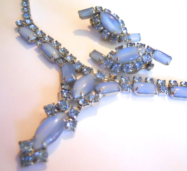 Violet Blue Opaque Glass and Rhinestone 1950s Necklace and Clip Earrings