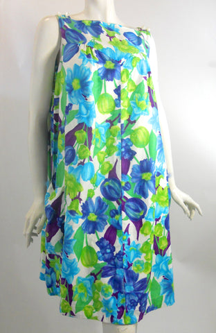 Bright Tropical Floral A-Line Summer Dress circa 1960s