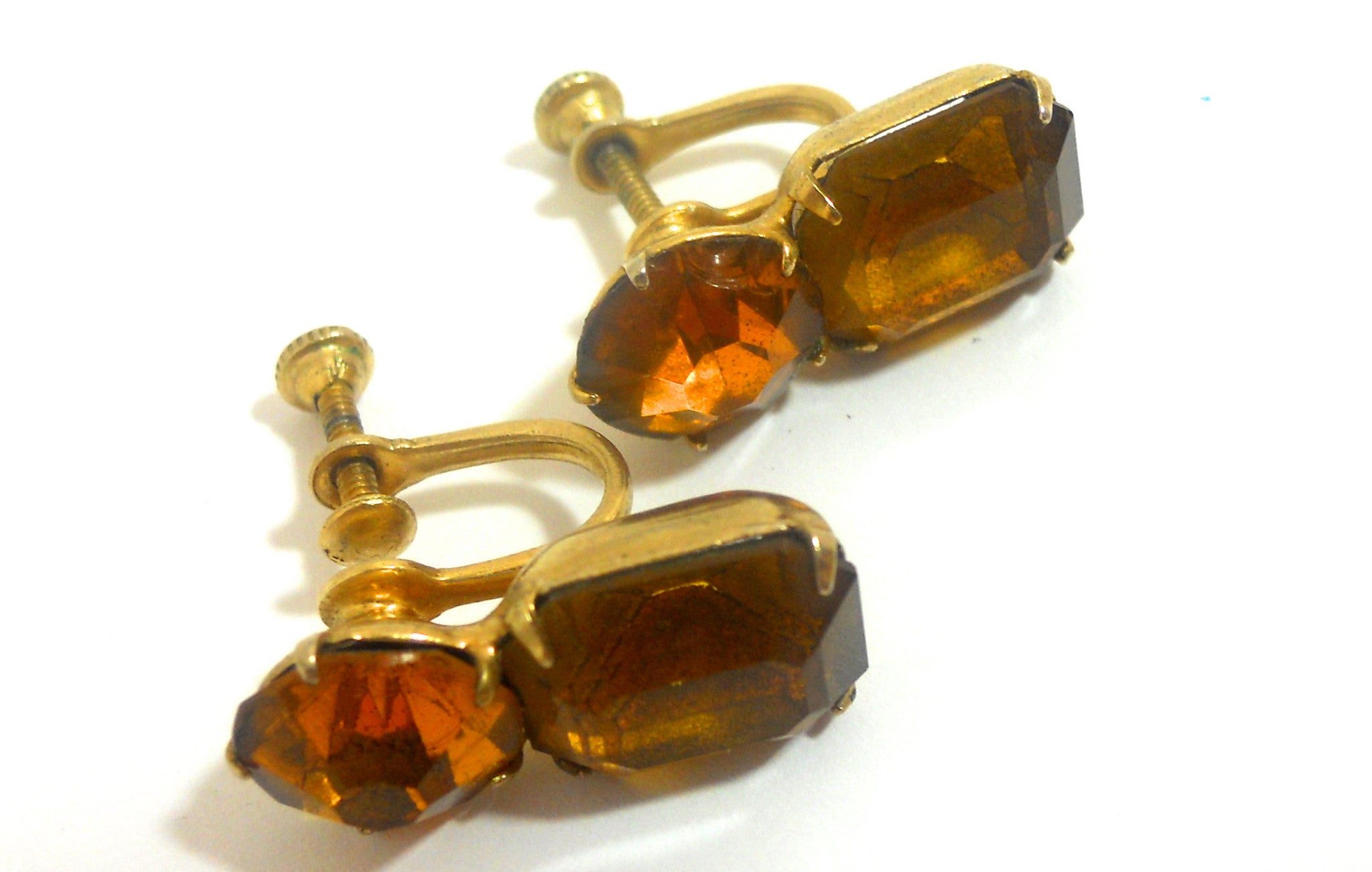 Amber Colored Rhinestone Screwback 1950s Clip Earrings