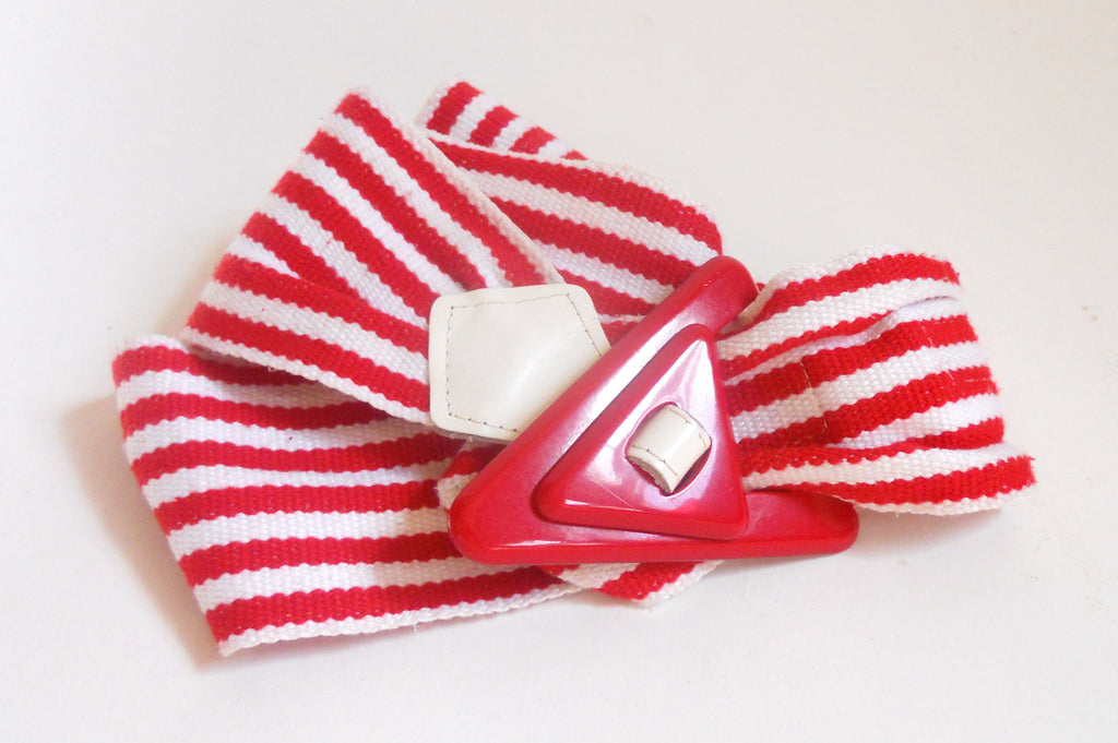 Red & White Striped 50s Style 1980s Belt w/ Plastic Clasp