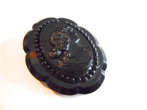 Jet Black Carved Faux Cameo Brooch circa 1960s