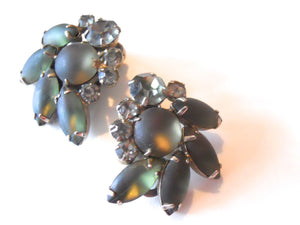 Frosted Blue Green Navette & Rhinestone Clip Earrings circa 1960s