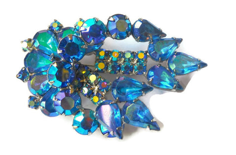 Teal & Blue Electric Hued Rhinestone Statement Brooch circa 1960s