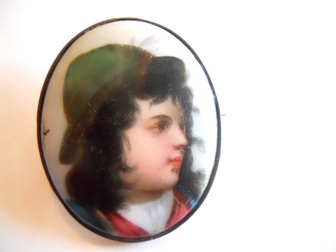Exquisite Miniature Portrait Painted Porcelain Brooch circa 1850s