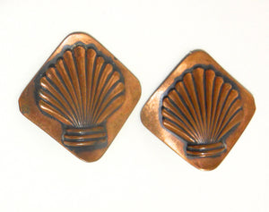 Seashell Design Large Copper Clip Earrings circa 1940s