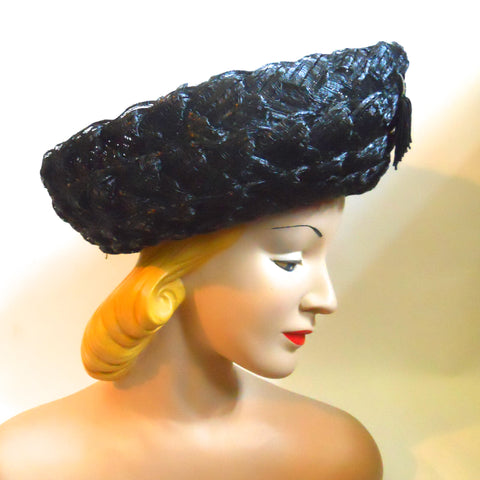 Black Glossy Wide Weave Sisal Hat with Upturned Brim and Tassel circa 1960s