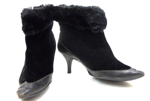 Vampy Black Velvet & Faux Fur Winter High Heel 1960s Boots