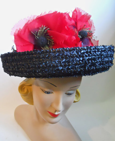 Black and White Sisal 1960s Hat with Big Red Poppies
