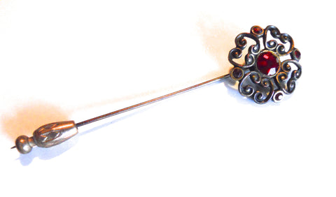 Ruby Red Rhinestone Stick Pin circa 1930s