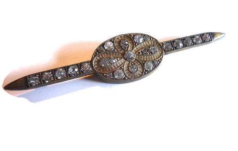 Elegant Rhinestone Dotted Mini Sash Pin circa Early 1900s