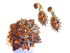 Topaz Hued 3-D Rhinestone Brooch and Dangle Clip Earrings circa 1960s
