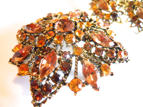 Topaz Hued 3-D Rhinestone 1960s Brooch and Dangle Clip Earrings