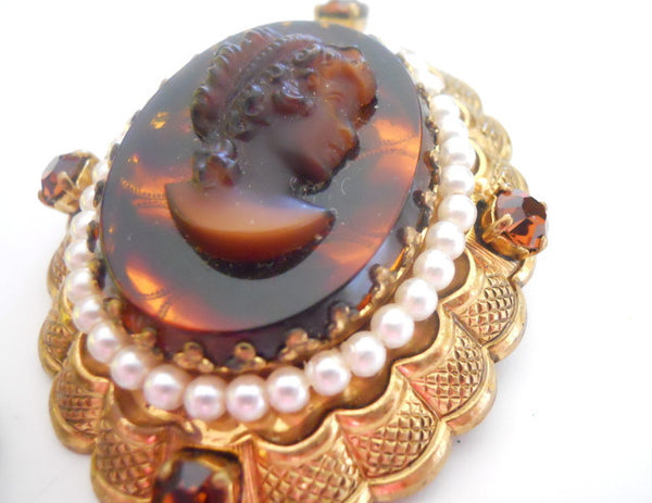 Deep Amber Brown Carved Lucite Faux Cameo Brooch & Clip Earrings circa 1960s