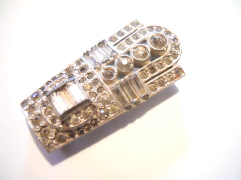 Sparkling Art Deco Paste Rhinestone Dress Clip circa 1920s