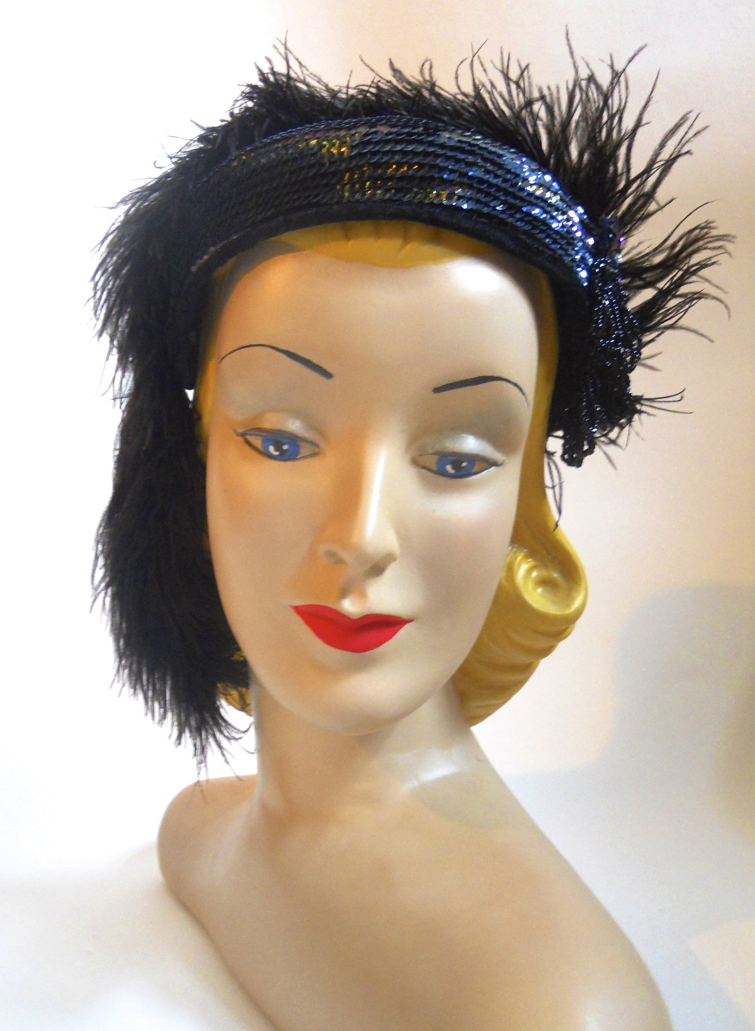 Marabou and Sequins Showgirl Style Hat circa 1960s