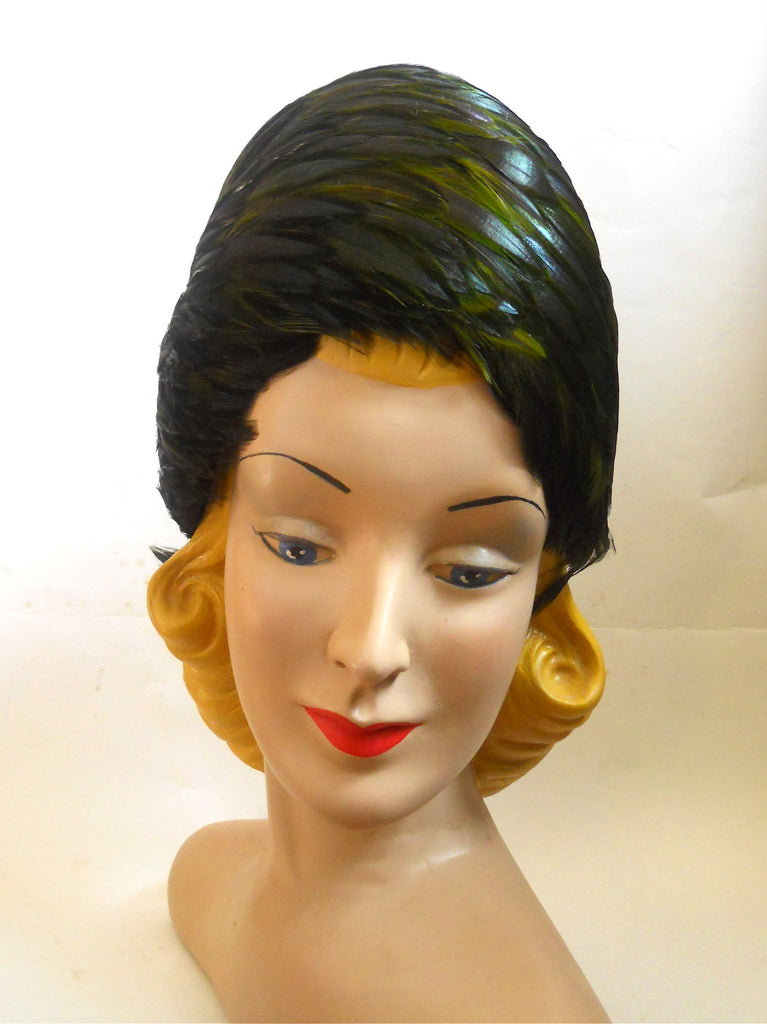 Emerald Green Feathered turban Style 1960s Hat