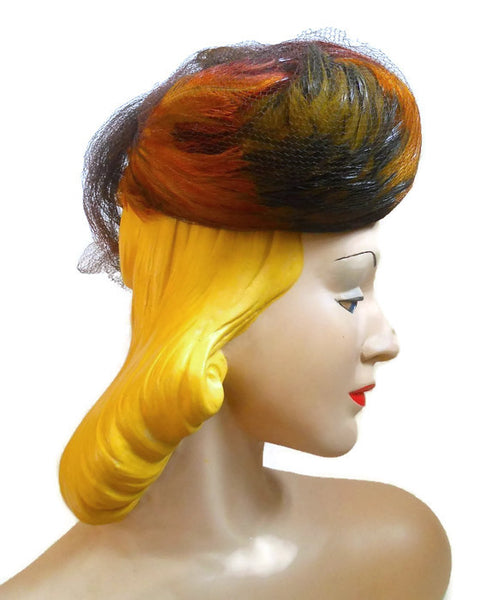 Autum Hues Feather High Crown Tilt Hat circa 1940s
