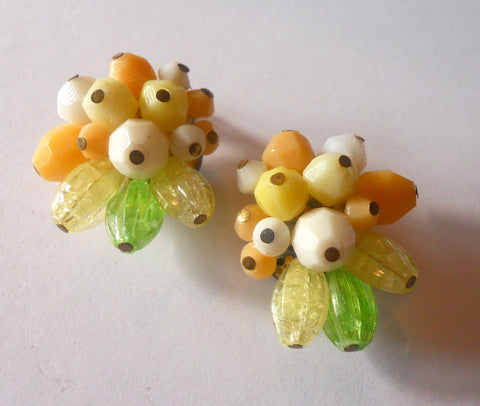 Citrus Fruity Beaded Clip Earrings circa 1960s