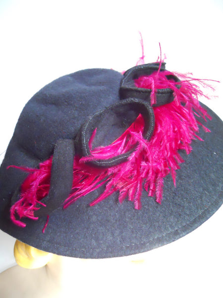 Shocking Pink Feather Topped Blue Felted Wool 1940s Hat