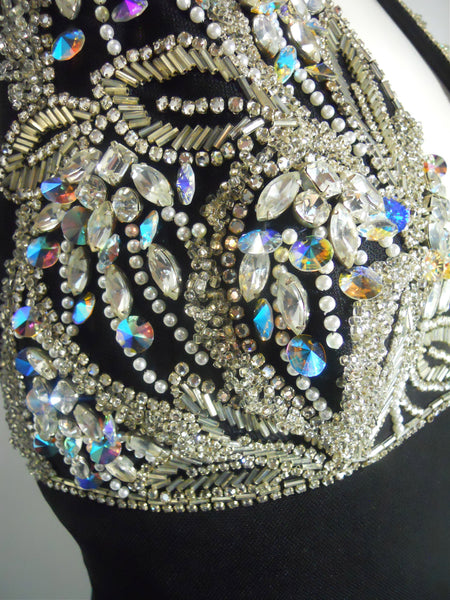 Glamour Infused Mr. Blackwell 1960s Gown with Rhinestones