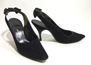 Black Suede Stiletto Heel Slingback Shoes with Bows circa 1960s by Herbert Levine