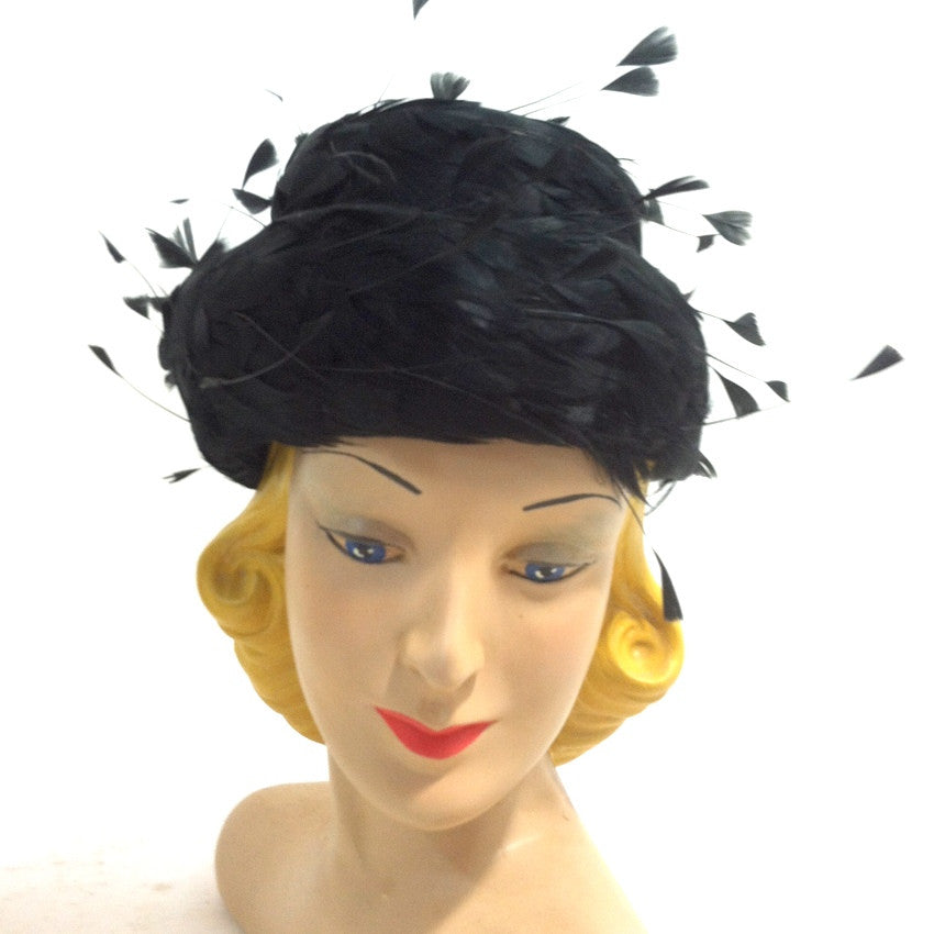 Floating Feathers Whimsical Tiered Black 1960s Cocktail Hat