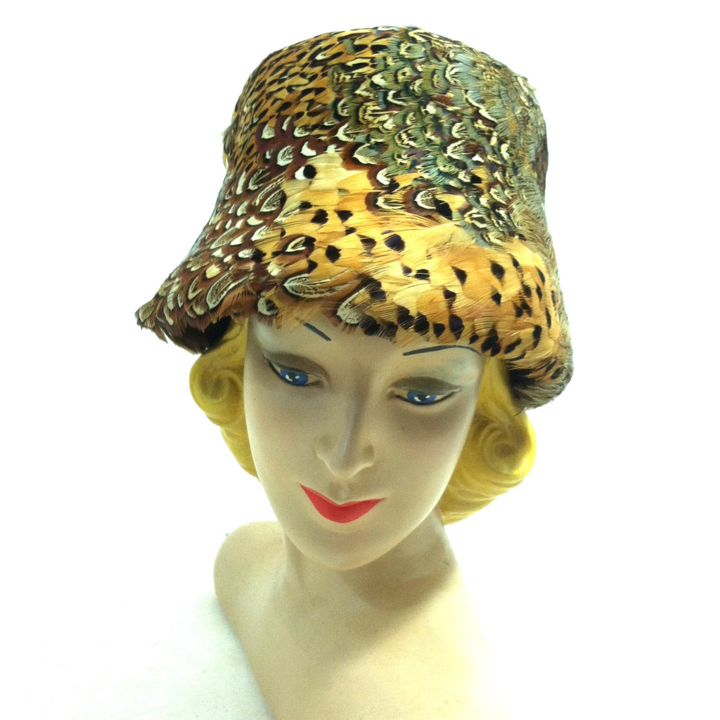 Brilliant Pheasant Feather Bucket Hat circa 1960s