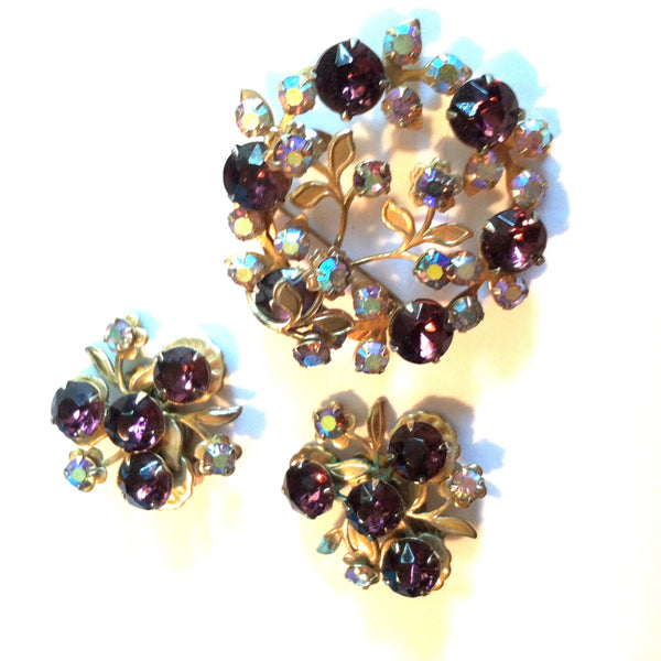 Purple Rhinestone Wreath Brooch and Clip Earring Set circa 1960s Dorothea's Closet Vintage Jewelry