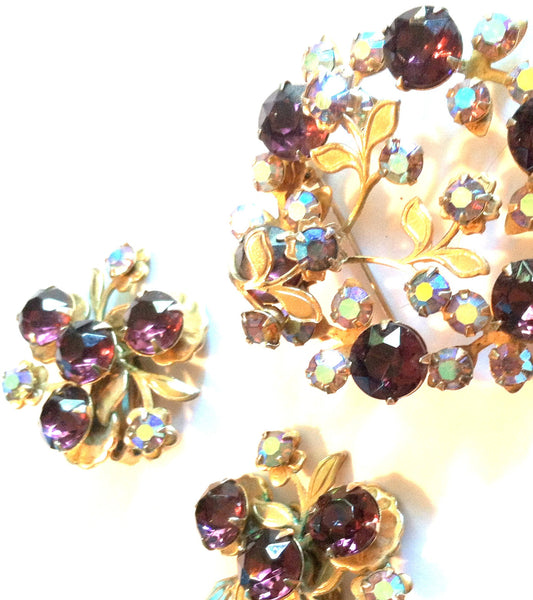 Purple Rhinestone Wreath Brooch and Clip Earring Set circa 1960s