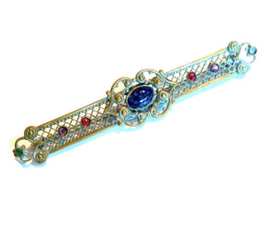 Multicolor Stones and Glass Goldtone Sash Pin circa Early 1900s
