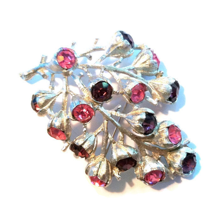Pink and Purple Rhinestone Cluster Brooch circa 1960s