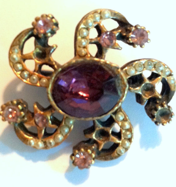 Purple Rhinestones and Stars Brooch circa 1940s