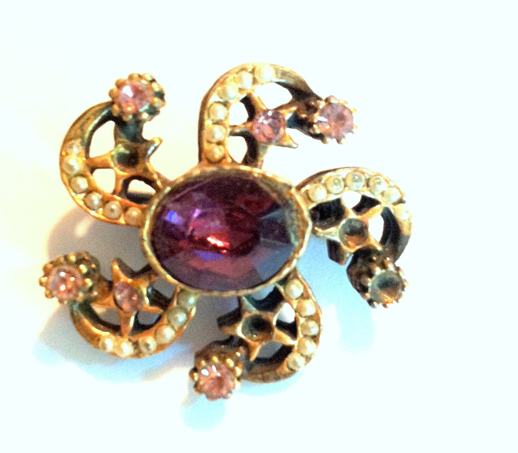 Purple Rhinestones and Stars Brooch circa 1940s Dorothea's Closet Vintage Jewelry