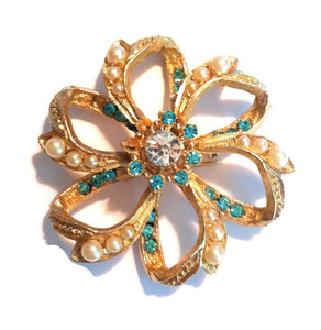Aqua and Gold Rhinestone and Faux Pearl Pinwheel Brooch circa 1960s